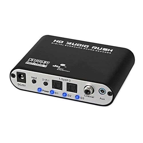 ESYNiC Digital to Analog 5.1 Audio Gear Adapter Sound Decoder SPDIF RCA Dolby AC3/ DTS Optical Coaxial Inpiut