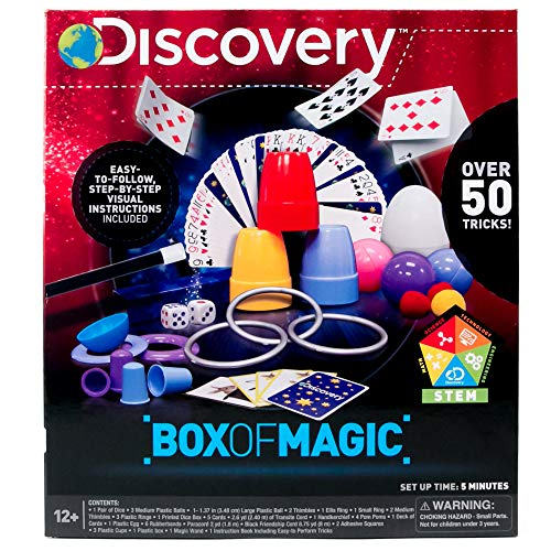 Discovery Box of Magic Over 50 Magic Tricks & Optical Illusions, Magic Wand & Instructions Included