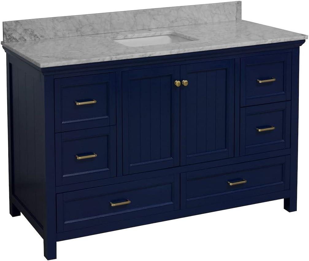 Paige 60-inch supreme Single Bathroom Vanity Carrara Inclu : Royal High quality new Blue