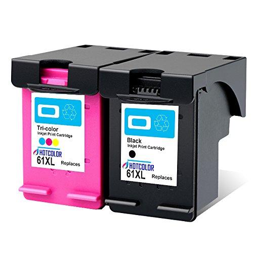 HOTCOLOR 2PK 61XL Ink Cartridges Remanufactured for HP 61XL Black/Tri-Color Inkjet Cartridge, Fit for HP Envy 4500 5530 5534 Officejet 4630 Deskjet 1000 1512 2540 3510 3050 Printer