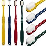 4 pezzi spazzolino micro-nano morbido manuale spazzolino a setole da denti extra morbide con 20.000 setole per gengive fragili adulti bambini (rosso, verde scuro, giallo, blu scuro)