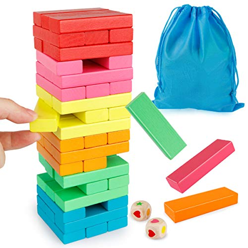 Coogam Wooden Blocks Stacking Game with Storage Bag, Toppling Colorful Tower Building Blocks Balancing Puzzles Toys Learning Educational Sorting Family Games Montessori Toys Gifts for Kids