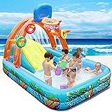 LOY Waves - Parque acuático, piscina con tobogán y canasta, para patio exterior, para niños