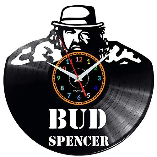 EVEVO Bud Spencer Wanduhr Vinyl Schallplatte Retro-Uhr groß Uhren Style Raum Home Dekorationen Tolles Geschenk Wanduhr Bud Spencer