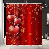 Maritown Schöne rote Herz Badematte Set Badematte + Sockelmatte + Toilettensitzbezug + Duschvorhang 4 Stück Set rutschfeste Badezimmer Teppich Matte Geschenke für Valentinstag Hochzeit