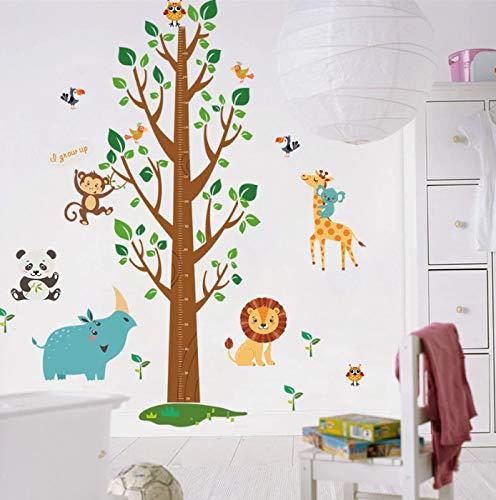Pegatinas de medición de altura de árbol de animales de dibujos animados para habitación de niños, regla de altura de crecimiento para niños, pegatina de pared para decoración del hogar