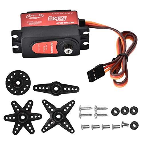 Eosnow HS3112 12KG RC Servo Digital, servo Motor de par de Engranajes de Metal, Estable a Prueba de Golpes con Motor sin núcleo, ángulo de Control de 55 °, para Coche RC, Oruga, Bricolaje