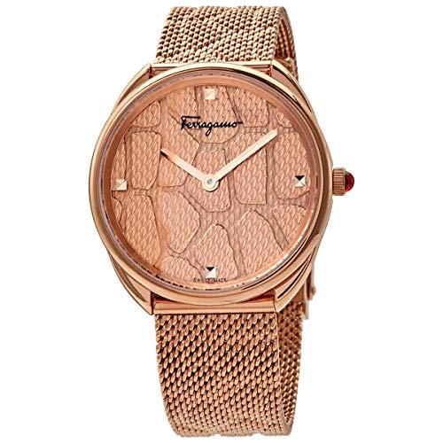 Ferragamo Reloj de cuarzo analógico de acero inoxidable con correa de plata fina, transparente, 3 (modelo: 7630030550430)