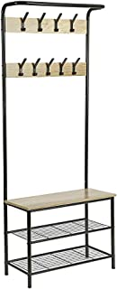 HOMEFORT Entryway Hall Tree, Metal Coat Rack with Shoe Bench, Coat Stand with 9 Hangers and 3-Tier Metal Storage Rack,3 in 1 Design, Perfect for Closet, Living Room and Bedroom,28.35