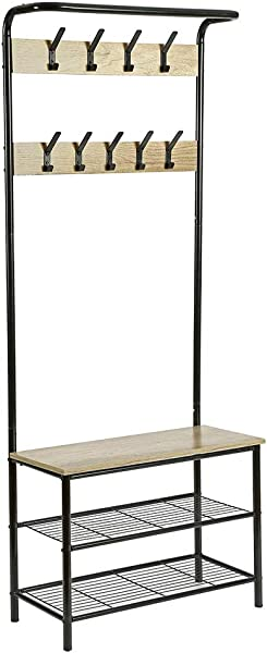 HOMEFORT Entryway Hall Tree Metal Coat Rack With Shoe Bench Coat Stand With 9 Hangers And 3 Tier Metal Storage Rack 3 In 1 Design Perfect For Closet Living Room And Bedroom 28 35 W X 13 19 D X 71