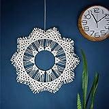 XIEJING Round Wall Hanging, Handmade Woven Tapestry Nordic Tassel Wall Art Decor for Apartment Dorm Living Room Bedroom Baby Nursery Art-Creamy-White Diameter: 46cm Bohemian Wall Decoration