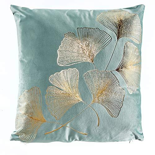 Invicta Interior Elegantes Samtkissen 40x40cm Mint mit goldenen Blätter Samt Kissen Wohnaccessoire...