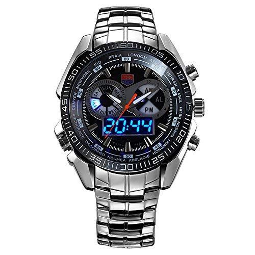 Reloj de pulsera LED para hombre, hora digital y analógica, estilo militar, impermeable y de acero con caja.