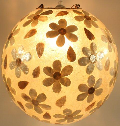 Guru-Shop Deckenlampe/Deckenleuchte Mila, Handgemacht in Bali, Fiberglas mit Capiz Muster, 35x35x35 cm, Resinlights, Fiberglas Deckenleuchten