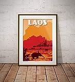 guyfam Vintage Poster Laos - VangVieng - NAM Song River -