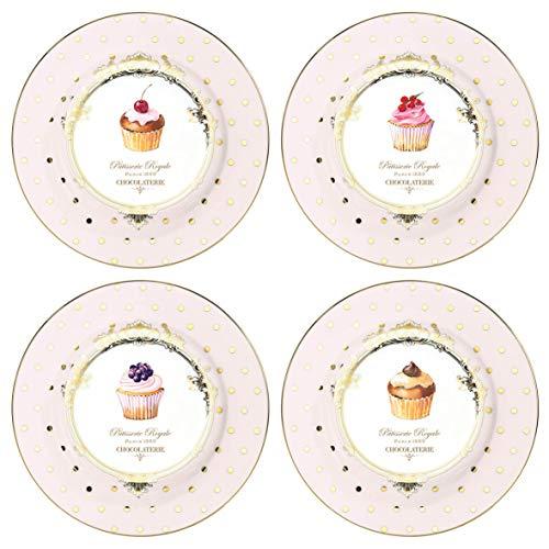 Easy Life 1100DOC - Cofanetto 4 piatti, Porcellana, Rosa, 19 cm