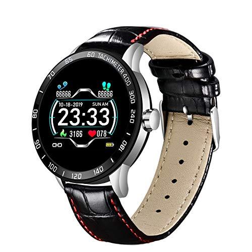 FOTGL Steel Smart A Prueba de Agua Reloj Hombres Cuero Smart Watch Deporte para iPhone Ritmo cardíaco Presión Arterial Fitness Tracker SmartWatch (Color : Leather Silver)