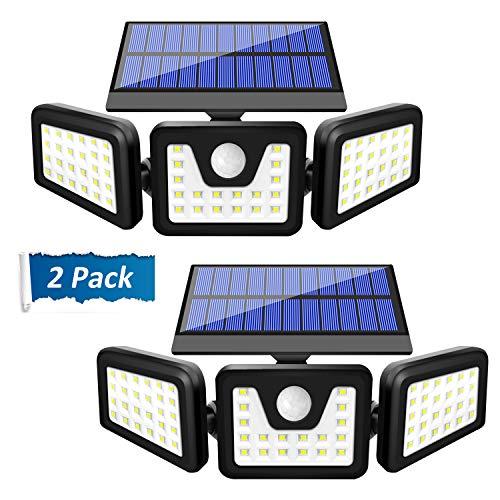 Solar Lights Outdoor, SONATA Solar Motion Sensor Lights Outdoor IP65 Waterproof, Upgraded 3 Heads Solar Flood Lights Outdoor, Wireless Wall Lights for Garden, Garage, Yard and Pathway, 2 Pcs