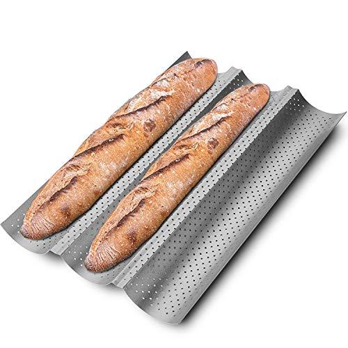 KITESSENSU Sartenes antiadherentes para hornear pan francés, 3 panes, baguettes panadería, 38 x 33 cm, color plateado