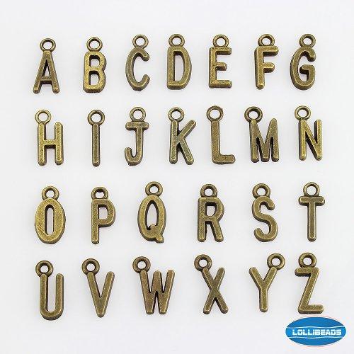 LolliBeads (TM) ジュエリー製造チャームアクセサリーパーツ ハンドメイド ブレスレットとネックレス手芸材料-アルファベット,アンティークブロンズ(古銅色) (52個入れ)