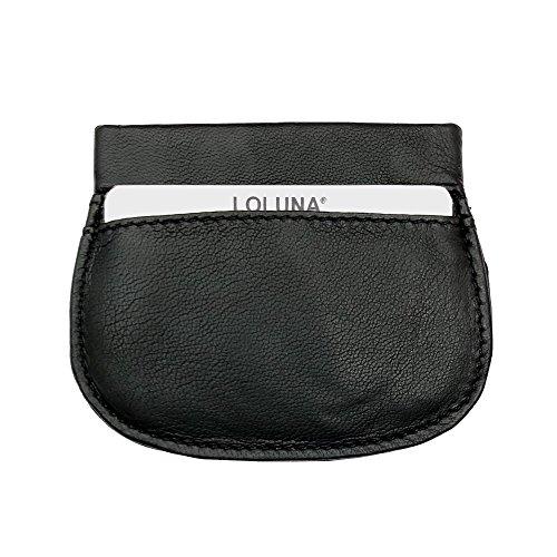 LOLUNA® Porte-Monnaie Homme Plat Souple Ressort - Clic Clac - Bonne qualité - Cuir Agneau – pour Poches Pantalon ou Veste - idée Cadeau (Noir)