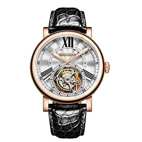 REEF TIGER Herren Uhr analog Handaufzugwerk mit Leder-Alligator Armband RGA1999-PWB