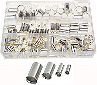 Terrans 150pcs 4Types(AWG 4,2,1,2/0) Wire Silver Plated Copper Crimp Connector Non Insulated Cable Housing Ferrule Pin Cord End Terminal Assortment Kit