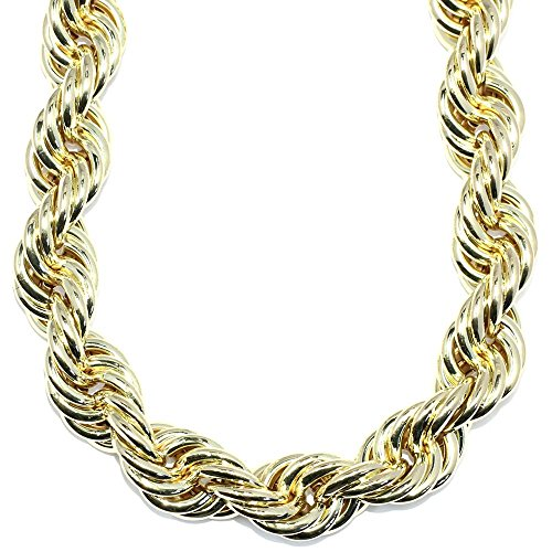 """Mega Jewellery Gold plated Hip Hop Rope Chain XL Hollow 20mm x 30"""","""