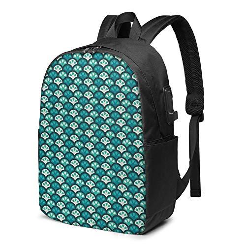 WEQDUJG Mochila Portatil 17 Pulgadas Mochila Hombre Mujer con Puerto USB, Cítricos con Curvas semicírculos Mochila para El Laptop para Ordenador del Trabajo Viaje