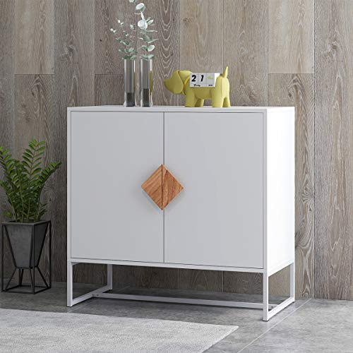 RASOO Sideboard 2 Doors White Modern Kitchen Buffet Storage Cabinet Cupboard Furniture with Solid Wood Square Handles and Metal Legs