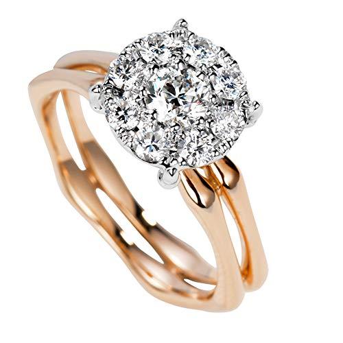Oro Rosa de 18K 100% diseño de Corte Redondo Natural Cuatro Puntas de Anillo de Compromiso de Diamante Redondo (Color H, 0,69 cttw),15(17.2mm)