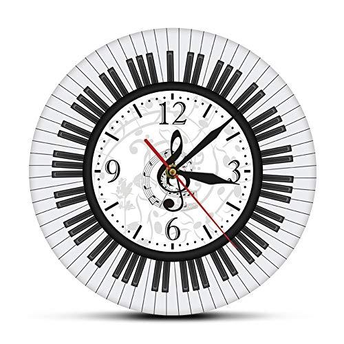 Resistente a la abrasión Blanco de la pared del reloj Music Studio Decoración pianista regalo del reloj del teclado de piano sin marco Clave de sol Arte moderno de la pared del reloj de pared de las n