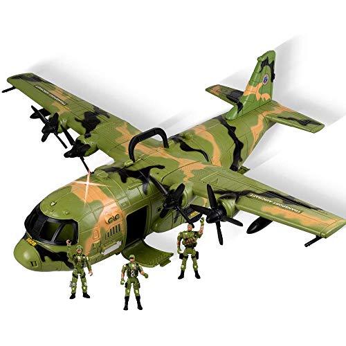 BAKAJI Aereo Militare C130 Military Combat Giocattolo per Bambini Gigante con Sportelli Apribili Mitra Luci Suoni e 3 Personaggi Soldati Inclusi Dimensione 60 x 55 x 22 cm Curato in Ogni Dettaglio