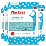 Plackers Twin-Line Dental Floss Picks, 75 Count (Pack of 4), Blue