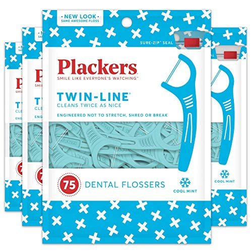 Plackers Twin Line Whitening Flosser, 75 Count (Pack of 6) by Plackers