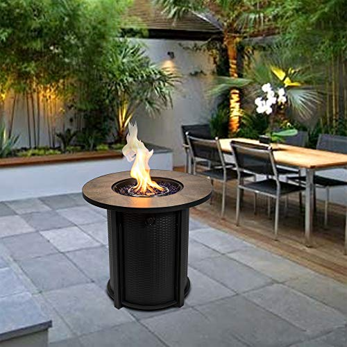 Peaktop Round Steel Ceramic 26inch Firepit Outdoor Gas Fire Pit Metal with Glass Rocks & Cover HF30900BA-UK, Black/Brown