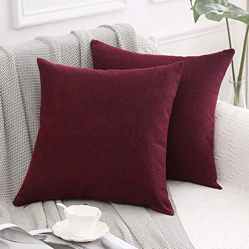 MIULEE Set of 2 Cross Shape Faux Linen Square Throw Pillow Case Cushion Cover Home for Sofa Chair Couch/Bedroom Decorative Pillowcase 26 x 26 Inch 65 x 65cm Dark Red
