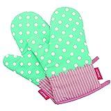 LEOFANS 1 Paar Hitzebeständig Ofenhandschuhe Verdickte Hitzeresistente Topflappen Backhandschuhe aus Baumwolle und Polyester (Gepunktet Türkis)
