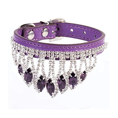 DHZYY Collar de Perro, Collar de Cristal de Mascotas Cuello de Correa de Cuello de Perrito, para pequeños Collar de Gato de Perro (Color : Purple, Size : S)
