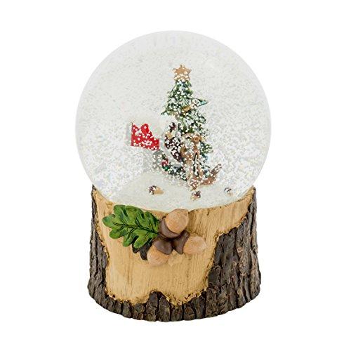 Chipmunk in Mailbox Tree 100MM Musical Glitterdome Water Globe Plays Jingle Bells