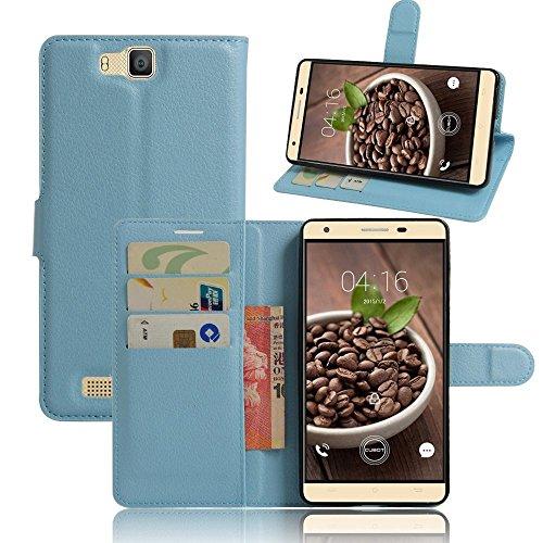 Tasche für Cubot H2 Hülle, Ycloud PU Ledertasche Flip Cover Wallet Case Handyhülle mit Stand Function Credit Card Slots Bookstyle Purse Design blau