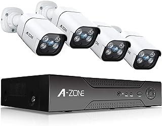 【最新AI人体感知・双方向通話】A-ZONE 300万画素タイプ防犯カメラ POE給電カメラ 防犯カメラ 監視カメラ ハイビジョン スピーカー搭載レコーダー 1TBHDD内蔵 IP67防水防塵 赤外線 動体検知録画 最大8TB対応(3MP·双方...