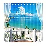 LB Insel,Ozean,Balkon,Palmen,Blau,Weiß_Polyester Stoff Duschvorhang mit Haken Badzubehör Dekoration,180 x 180 cm