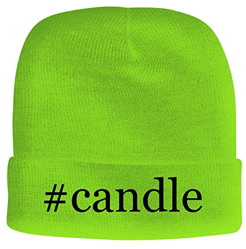 BH Cool Designs #Candle - Men's Hashtag Soft & Comfortable Beanie Hat Cap, Neon Green, One Size