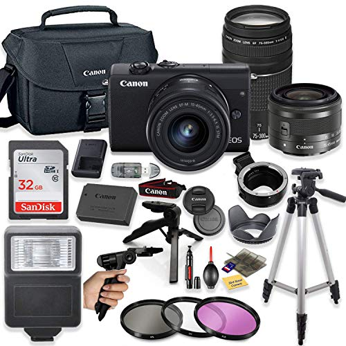 Canon EOS M200 Mirrorless Digital Camera (Black) with EF-M 15-45mm Lens & EF 75-300mm Lens + Pro Lens Mount Auto Adapter - EOS (EF/EF-S to EF-M Mount) + Deluxe Accessory Bundle
