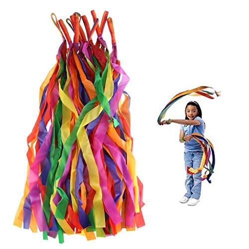Formemory Hand Gehalten Regenbogenbänder,Bänder mit Griff,Regenbogen Tücher Bunt Gymnastikband,12 Pcs Jongliertücher für Kinder,Scherzt Spielzeug Tanz Band,Rainbow Ribbon