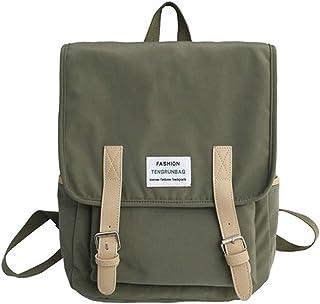 Solid Color Soft Surface College Backpack Travel School Shoulder Bag Daypack (Color : Green)