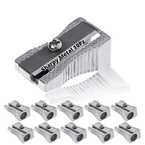 LogicaShop - Sharpy Metal Temperino Piccolo Classico Alluminio lama in Acciaio - Temperamatite metallo 1 foro Per Matite Kawai, Bambini Scuola e Trucc