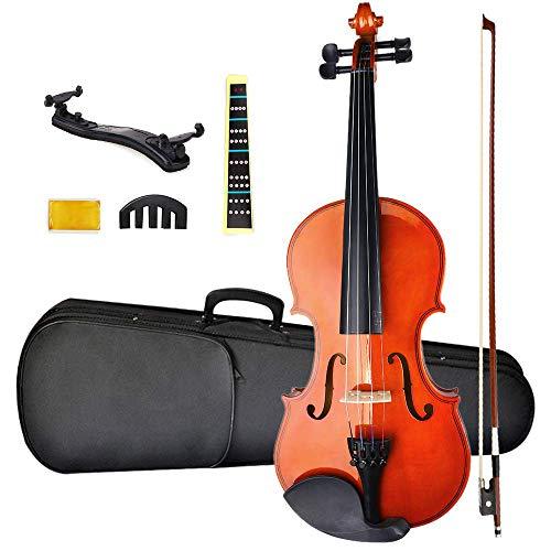 NANYI Size 1/4 beginner first violin Set Natural Solid Wood Beginner Violin with Shoulder Rest Rosin Bow Case and Bridge Stringed Musical Instruments Violin Music Hobby