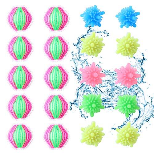 Herefun balles de lavage réutilisables, 20 pcs Magic Boule de Lavage balles pour machine à laver épilateur de poils d'animaux de compagnie, Boule de Lavage pour Sèche-linge et Machine à Laver